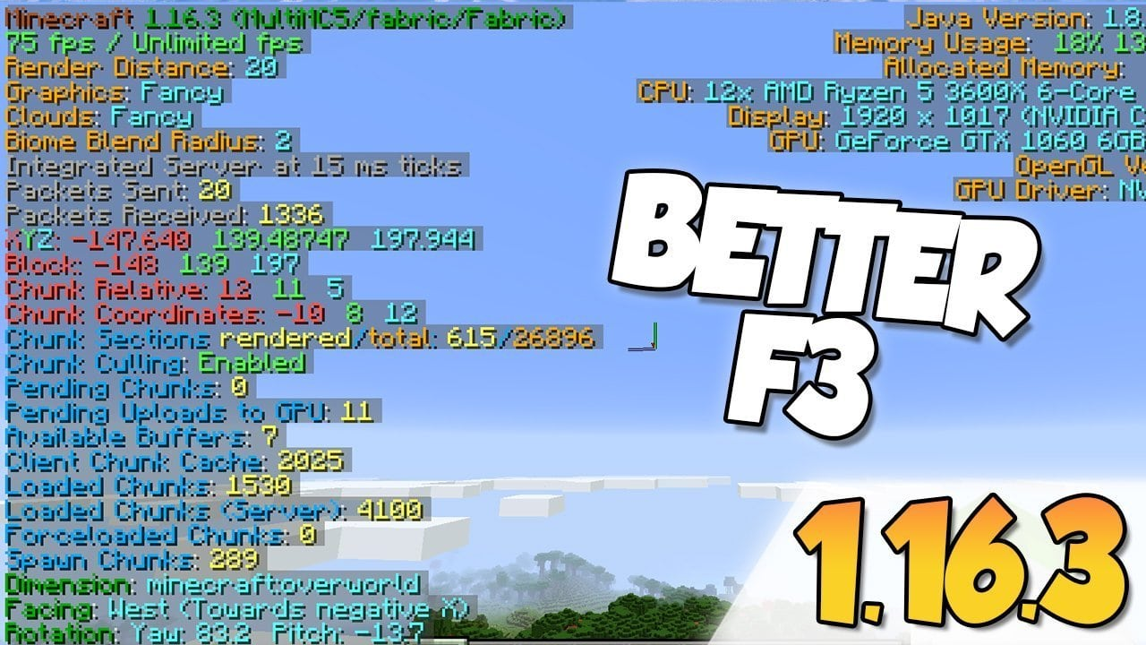 【 Better F3 MOD 】para Minecraft 1.16.3