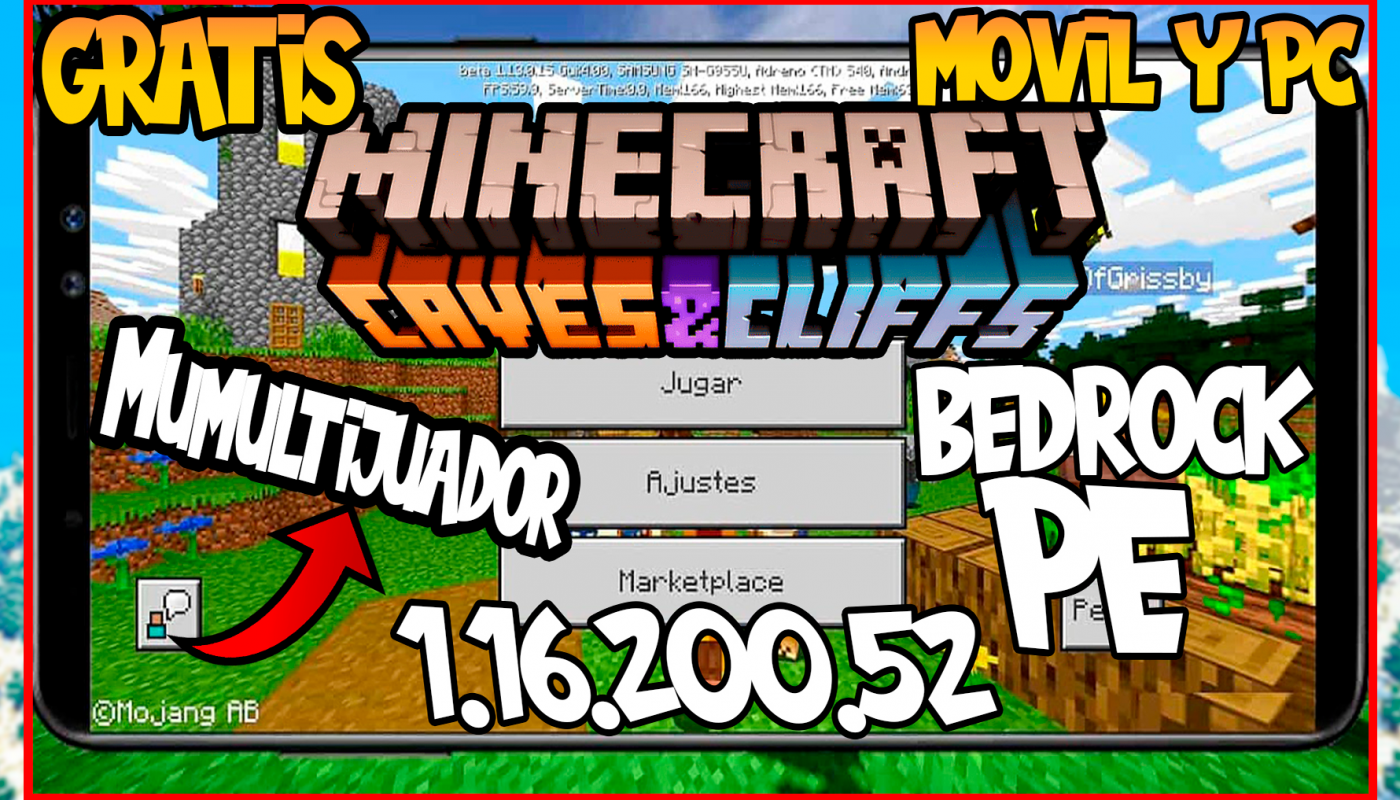 Como Descargar Minecraft Pe Bedrock 1 16 200 52 Gratis Apk Minecraft Cave And Cliff Update Descargar E Instalar
