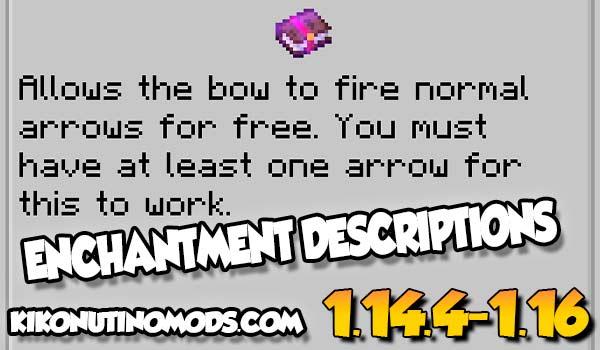 【Enchantment Descriptions MOD】 para Minecraft 1.16.5, 1.16.4, 1.15.2, 1.12.2…